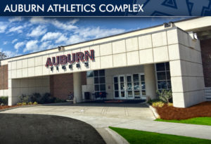 A front view of the Auburn University Athletic Complex where all business involving sports is handled.